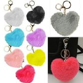 120 Units of FAUX FURRY HEART ZIPPER PULL KEYCHAINS