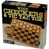 8 Units of 2-in-1 WOOD CHECKERS AND TIC TAC TOE GAMES. - Dominoes & Chess