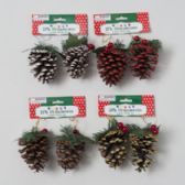 48 Units of Pinecone Ornament 2 pack - Christmas Ornament