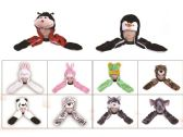 60 Units of 10 STYLES ANIMAL HATS WITH MITTEN-ASST