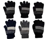 72 Units of Unisex Striped Winter Gloves - Knitted Stretch Gloves