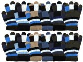 36 Units of WINTER Kids Magic Glove Stripes Assorted Colors - Knitted Stretch Gloves
