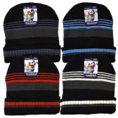 48 Units of Winter Knit Hat Thin Stripes