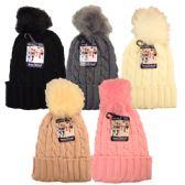 24 Units of Winter Hat Pom Pom Knit Ladies - Winter Beanie Hats