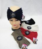 36 Units of Warm Winter Ear Warmers With Center Stones