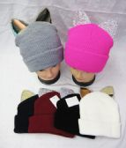 36 Units of Women's Winter Beanie With Rhinestone Ears - Winter Beanie Hats