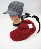 36 Units of Womens Fashion Winter Visor Beanie Assorted Colors
