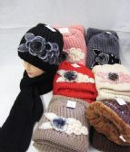 24 Units of Winter Fashion Ladies Scarf And Hat Set With Flower