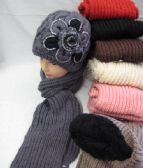 24 Units of Womens Fashion Winter Hat And Scarf Set With Flower