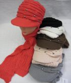 36 Units of Womens Fashion Winter Warm Hat And Scarf Set With Rhinestones