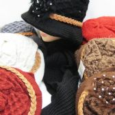 36 Units of Womens Winter Fashion Hat And Scarf Set With Rope And Flower