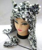36 Units of Winter Fashion Small White Cheeta Hat