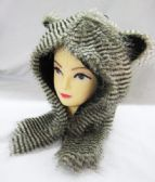 24 Units of Winter Raccoon Animal Hat - Winter Animal Hats