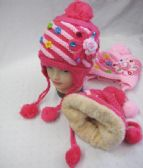 48 Units of Girls Winter Beanie With Flowers And Rhinestones