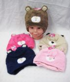 36 Units of Toddler Winter Warm Hat With Bear