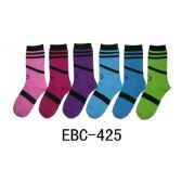 360 Units of Women's Printed Crew Socks Smiles And Stripes Print