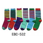 360 Units of Women's Printed Crew Socks Multi Stripes - Womens Crew Sock
