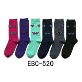 360 Units of Women's Printed Crew Socks Butterfly Print