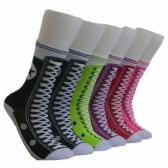 360 Units of Women's Sneaker Print Crew Socks
