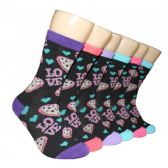 360 Units of Women's Love Printed Crew Socks