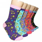 360 Units of Women's Musical Notes Printed Crew Socks