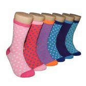 360 Units of Women's Printed Crew Socks Dotted Pattern