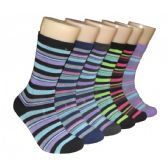 360 Units of Women's Printed Crew Socks Colorful Stripes