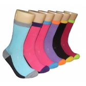 360 Units of Women's Printed Crew Socks Color Heel & Toe
