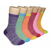 360 Units of Women's Bright Color Marled Crew Socks