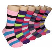 360 Units of Women's Bright Color Striped Crew Socks