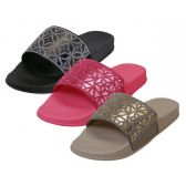 36 Units of Women's Rhinestone Top Slide Sandals