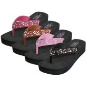 36 Units of Women's EVA Wedge Multi Color Stone Top Sandals
