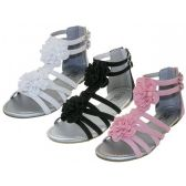 24 Units of Youth's Silk Flower top Gladiator Sandals - Kids Footwear