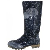 12 Units of Women's 13.5 Inches Waterproof Rubber Rain Boots ( *Black Floral Print ) - Women's Boots