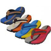 36 Units of Men's 2 Tone Color Fabric Thong Sandals - Men's Sneakers