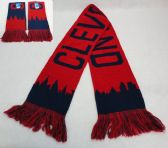 36 Units of Knitted Scarf with Fringe [CLEVELAND Skyline] Navy/Red - Winter Scarves