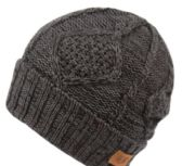 12 Units of MULTI COLOR KNIT BEANIE IN CHARCOAL WITH FUR LINING