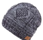 12 Units of MULTI COLOR KNIT BEANIE IN NAVY WITH FUR LINING