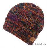 12 Units of MULTI COLOR KNIT BEANIE IN RAINBOW WITH FUR LINING
