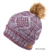 12 Units of MULTI COLOR PURPLE KNIT BEANIE HAT WITH POM POM