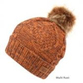 12 Units of MULTI COLOR RUST KNIT BEANIE HAT WITH POM POM