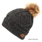 12 Units of MULTI COLOR CHARCOAL KNIT BEANIE HAT WITH POM POM - Winter Beanie Hats