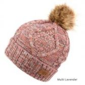 12 Units of MULTI COLOR LAVENDER KNIT BEANIE HAT WITH POM POM - Winter Beanie Hats