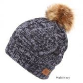 12 Units of MULTI COLOR NAVY KNIT BEANIE HAT WITH POM POM - Winter Beanie Hats