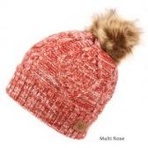 12 Units of MULTI COLOR ROSE KNIT BEANIE HAT WITH POM POM - Winter Beanie Hats