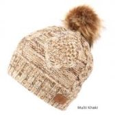 12 Units of MULTI COLOR KHAKI KNIT BEANIE HAT WITH POM POM - Winter Beanie Hats