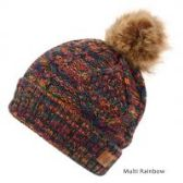 12 Units of MULTI COLOR RAINBOW KNIT BEANIE HAT WITH POM POM - Winter Beanie Hats