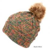 12 Units of MULTI COLOR MINT KNIT BEANIE HAT WITH POM POM - Winter Beanie Hats
