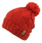 12 Units of HEAVY KNIT BEANIE IN MIX RED WITH POM POM & SHERPA LINING