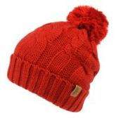12 Units of HEAVY KNIT BEANIE IN RED WITH POM POM & SHERPA LINING